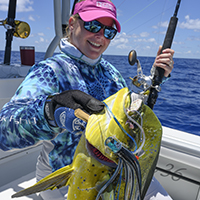 dolphin mahi mahi, lady, female angler